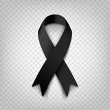 Akcyjny wektorowy ilustracyjny czarny świadomość faborek na przejrzystym tle Opłakiwać i czerniaka symbol terroryzm _ Obraz Royalty Free
