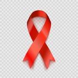 Akcyjny wektorowy ilustracyjny czerwony faborek Odizolowywający na przejrzystym tle HIVAIDS świadomość Uzależnienie świadomość EP Zdjęcie Stock