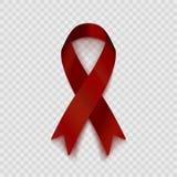 Akcyjny wektorowy ilustracyjny zmrok - czerwony faborek Odizolowywający na przejrzystym tle Poparcie dla ludzi z kalectwami Probl Zdjęcia Royalty Free