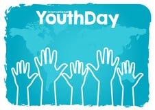 Akcyjny wektorowy międzynarodowy młodość dzień, 12 Sierpniowej ręki na w górę światowej mapy błękita tła ilustracja wektor