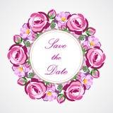 Akcyjny wektorowy zaproszenie rocznika wianek z różowymi różami dla poślubiać, małżeństwo, urodziny Obrazy Royalty Free