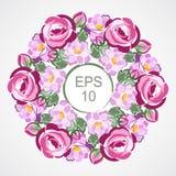 Akcyjny wektorowy zaproszenie rocznika wianek z różowymi różami dla poślubiać, małżeństwo, urodziny Obraz Stock