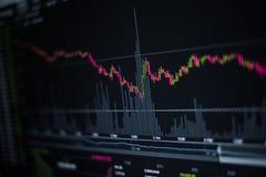 Akcyjny wykres na komputerowym tle Obraz Stock