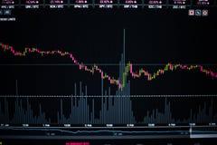 Akcyjny wykres na komputerowym tle Zdjęcia Stock