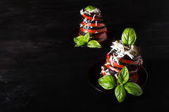 Вaked eggplant with tomato. And basil Royalty Free Stock Photography