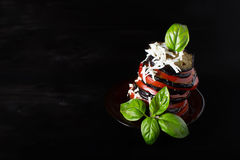 Вaked eggplant with tomato. And basil Royalty Free Stock Photos