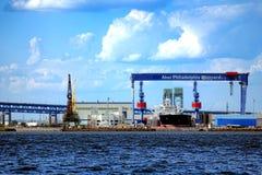 Aker费城造船厂船修理小船围场 库存图片