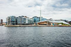 Aker Brygge in Oslo. Aker Brygge and Oslofjord. It is a neighbourhood in Oslo, Norway. Aker Brygge is a popular area for shopping, dining, and entertainment Stock Photo