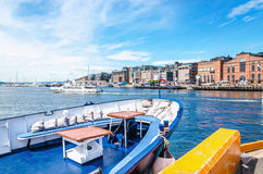 Aker Brygge from ship docked in port Oslo, Norway royalty free stock image