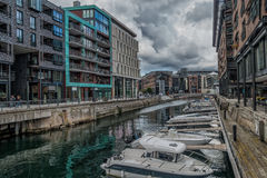 Aker Brygge water front harbor in Norway Royalty Free Stock Photos