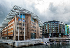 Aker Brygge water front harbor in Norway Stock Photos