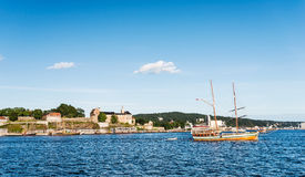 Akershus and boat Stock Images