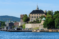 Akershus close up. View on Oslo Fjord harbor and Akershus Fortress, Oslo, Norway Royalty Free Stock Photos