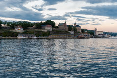 Akershus Festning, Oslo. Akershus Fortress or Akershus Castle is a medieval castle that was built to protect Oslo, the capital of Norway. It has also been used stock photos