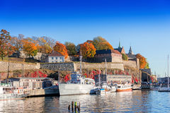 Akershus fortress on autumn day at sunset. View on Akershus fortress on autumn day at sunset royalty free stock photography