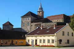 Akershus Fortress or Akershus Castle is a medieval castle that w. As built to protect Oslo, the capital of Norway. It has also been used as a royal residential stock photo