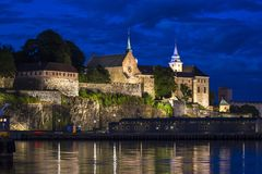 Akershus Fortress and Castle at night in Oslo, the capital of No. Rway stock photos