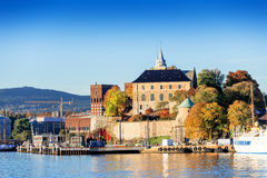 Akershus Fortress at golden hours with Bjorvika Royalty Free Stock Photo