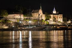 Akershus Fortress at Night. Oslo, Norway stock images
