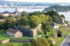 Akershus fortress Oslo. Akershus fortress in Oslo harbor royalty free stock photography