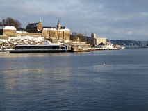 Akershus Fortress, Oslo. Winter view to Akershus Fortress in Oslo stock photography