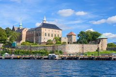 Akershus Fortress in Oslo. Ancient fortress with clear blue skies in Oslo, Norway Royalty Free Stock Image