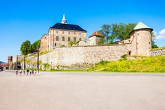 Akershus Fortress in Oslo. Norway. Akershus Festning is a medieval fortress that was built to protect Oslo royalty free stock photography