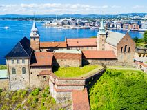 Akershus Fortress in Oslo. Norway. Akershus Festning is a medieval fortress that was built to protect Oslo royalty free stock photos
