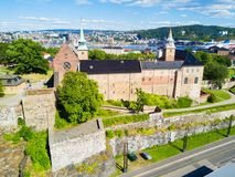 Akershus Fortress in Oslo. Norway. Akershus Festning is a medieval fortress that was built to protect Oslo stock photos