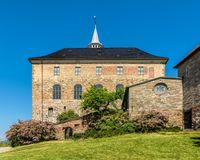 Akershus Fortress, Oslo. Akershus Fortress in Oslo, Norway. Akershus Festning is a medieval fortress that was built to protect Oslo. In spring royalty free stock photo