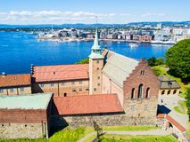 Akershus Fortress in Oslo. Norway. Akershus Festning is a medieval fortress that was built to protect Oslo stock image