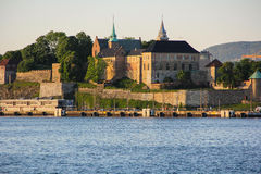 Akershus Fortress in Oslo, Norway. The medieval Akershus fortress in Oslo breaths history as it's been looking out at the Oslo fjord since 13th century stock images