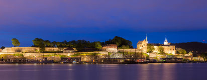 Akershus Fortress Panorama. Akershus fortress and castle panorama at night in Oslo, Norway stock image