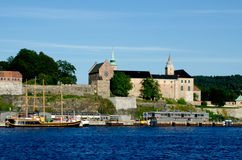 Akershus Fortress view from Oslo fjord Royalty Free Stock Photography