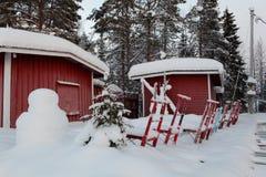 Akeslompolo typische sleeën voor rode cabines stock foto