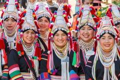 Akha妇女在北泰国, Chiangrai 免版税库存照片