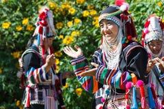 Akha小山部落传统跳舞在泰国 免版税图库摄影