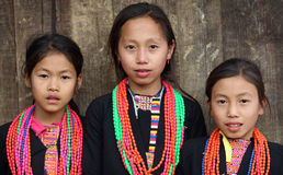 Akha girls, Phongsaly, Laos Stock Photos