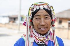 Akha Hill Tribe Lady, Myanmar. Stock Photos