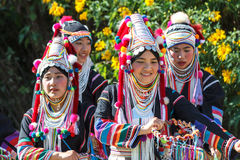 Akha hill tribe traditional dancing in Thailand. Royalty Free Stock Image
