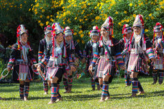 Akha hill tribe traditional dancing in Thailand. The Akha Hill tribe minority traditional dancing on Maxican Sunflower Blossom Festival 2015. Chiang rai Stock Images