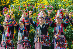 Akha hill tribe traditional dancing in Thailand. The Akha Hill tribe minority traditional dancing on Maxican Sunflower Blossom Festival 2015. Chiang rai Royalty Free Stock Images