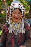 Akha hill tribe woman. Mae Salong, Northern Thailand - August 23, 2013  Akha hill tribe woman in traditional clothing Stock Photo