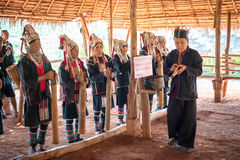 Akha tribe people performing folk dance. Thailand Stock Images