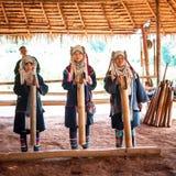 Akha tribe people performing folk dance. Thailand Royalty Free Stock Photo