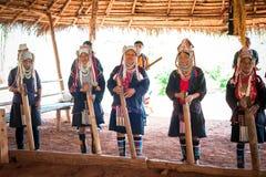 Akha tribe people performing folk dance. Thailand Stock Photo