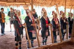 Akha tribe people performing folk dance. Thailand Stock Image