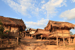 Akha tribe village (Laos). Akha live in villages in the mountains of southwest China, eastern Myanmar, western Laos, northwestern Vietnam, and northern Thailand royalty free stock image