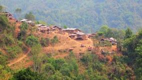 Akha tribe village on mountain,Pongsali,Laos stock video footage