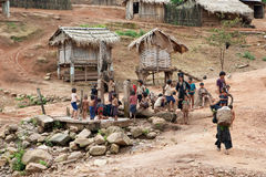 Akha village in Phongsali, Laos Royalty Free Stock Photos